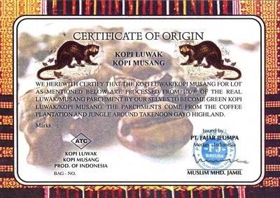 画像1: インドネシア産◆スマトラ島 コピ・ムサン(コピ・ルアック)★ジャコウネコの落としモノ Sumatra Island Kopi Musang. The Gift from Civet Cat